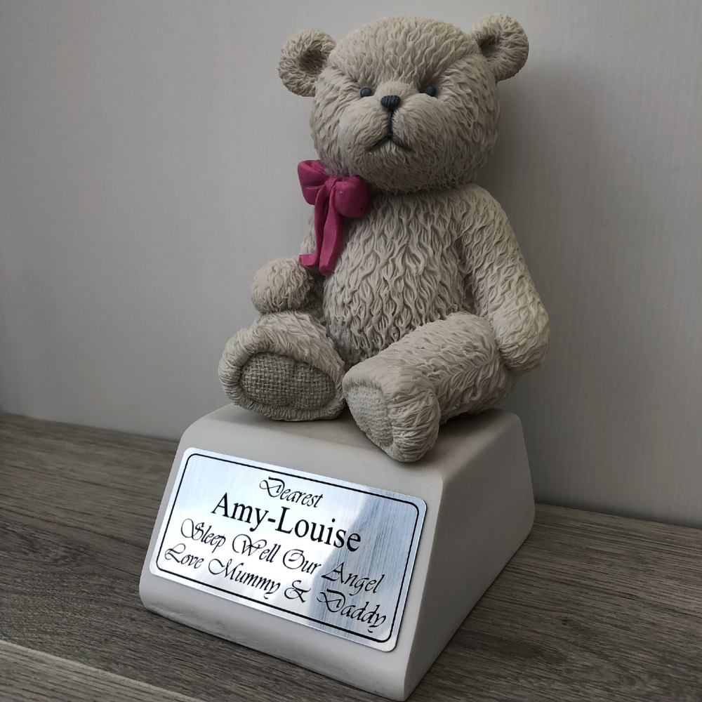 24cm POLYRESIN MEMORIAL TEDDY BEAR ON BASE WITH PINK BOW